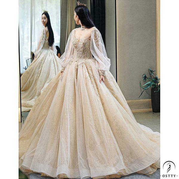 Ostty Champagne Luxury Long Trail Flower Wedding Dress OS00015 - $615.99