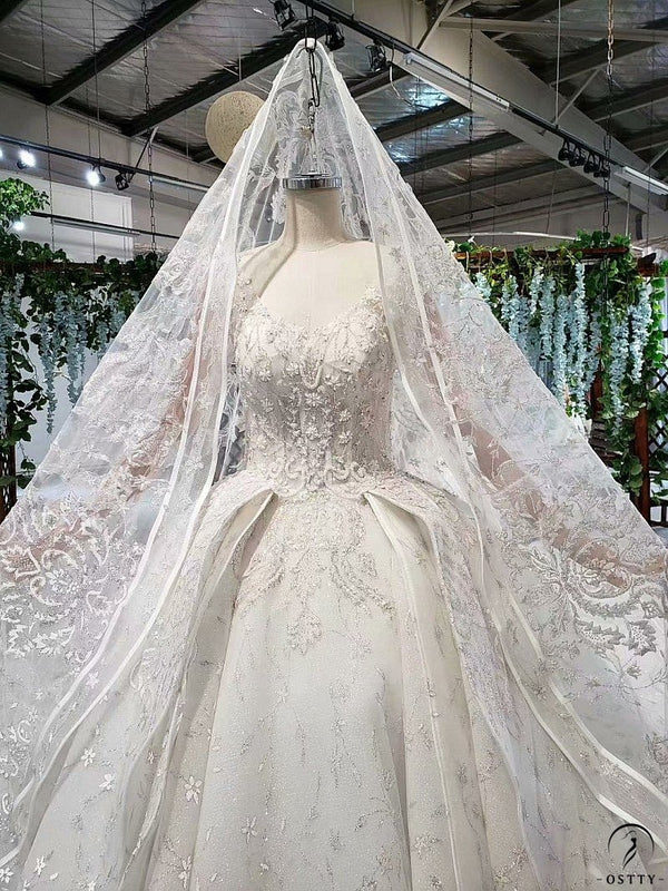 Ostty White Long Sleeve Wedding Gowns Wedding Dress 11537