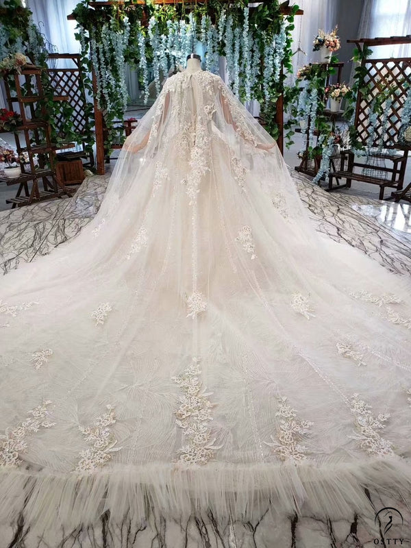 Ostty White Long Sleeve Wedding Gowns OS0331