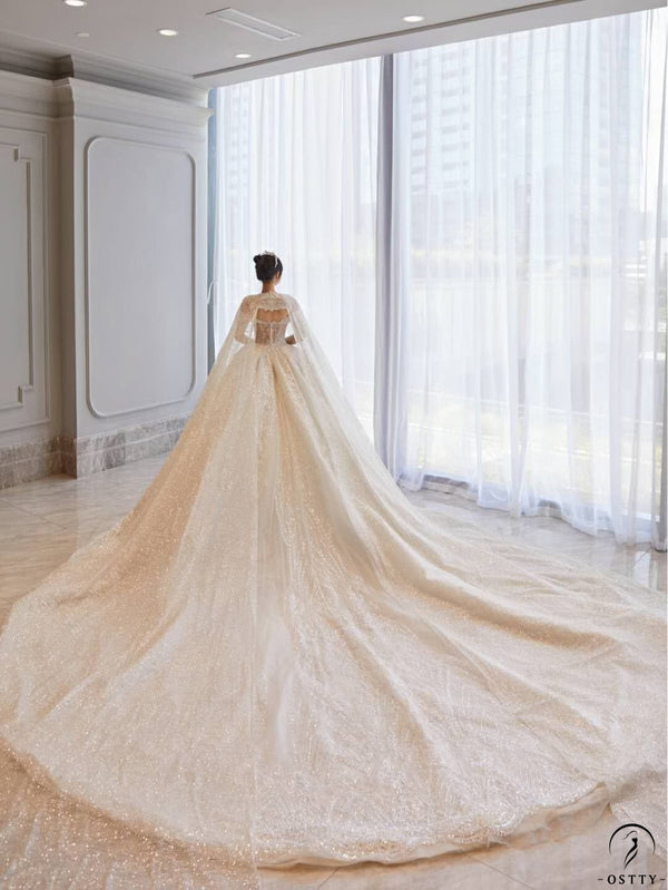 Ostty White Luxury Long Trail Flower Wedding Dress OS00010 - $699.99