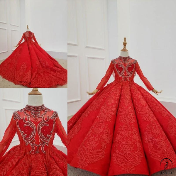 Red Ball Gown Flower Girl Dresses tq828 - OSTTY