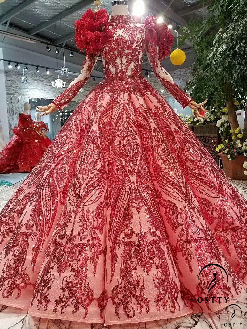 Red O Neckline Ball Gown Wedding Dresses With Lace Appliques - OSTTY