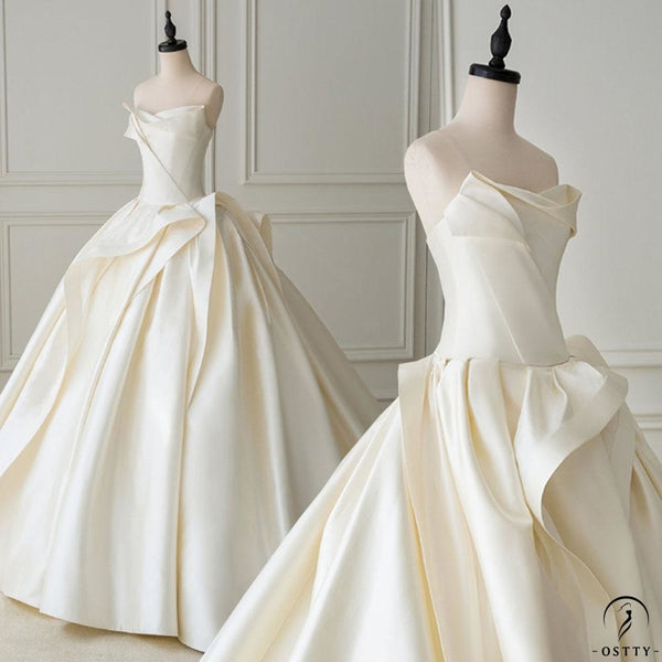 Satin Ball Gown Wedding Dress With Pleat Simple Bridal Gowns