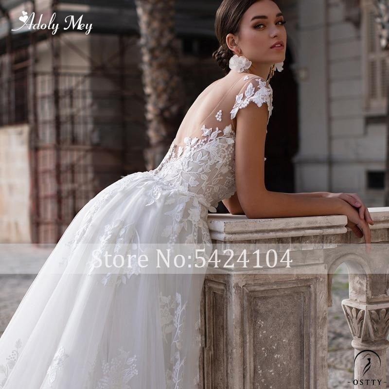 Scoop Neck Cap Sleeve Mermaid Wedding Dresses Appliques Detachable Train Dress - $543.88