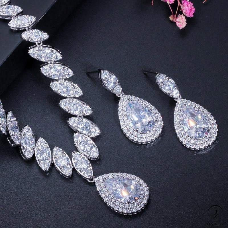 Wedding Necklace and Earrings Luxury Crystal Bridal Jewelry Sets - $45.10