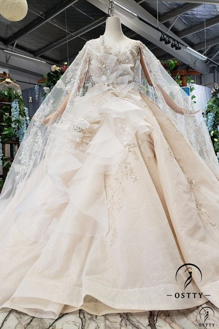 White Ball Gown Tulle Appliques Long Sleeve Wedding Dress With Train OS11643 - OSTTY