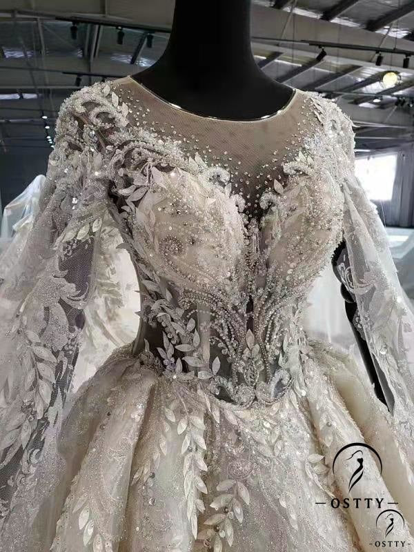 White Ball Gown Tulle Appliques Long Sleeve Wedding Dress With Train OS11644 - OSTTY