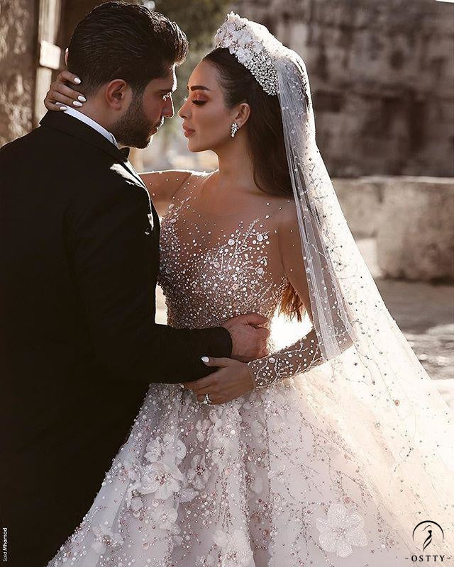 White Ball Gown Tulle Appliques Short Sleeve Wedding Dress With Train TK060 - TK060 $2,299.99