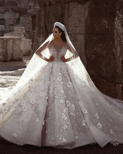 White Ball Gown Tulle Appliques Short Sleeve Wedding Dress With Train TK060 - US2 - TK060 $2,299.99