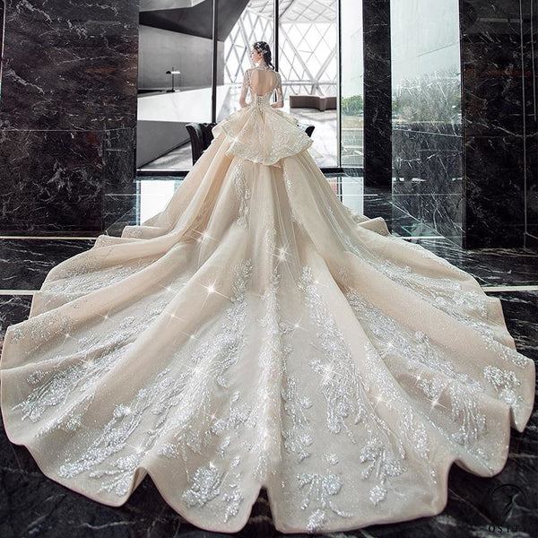 White Luxury V Neck Long Train Wedding Dress TK0010 - wedding dresses $699.99