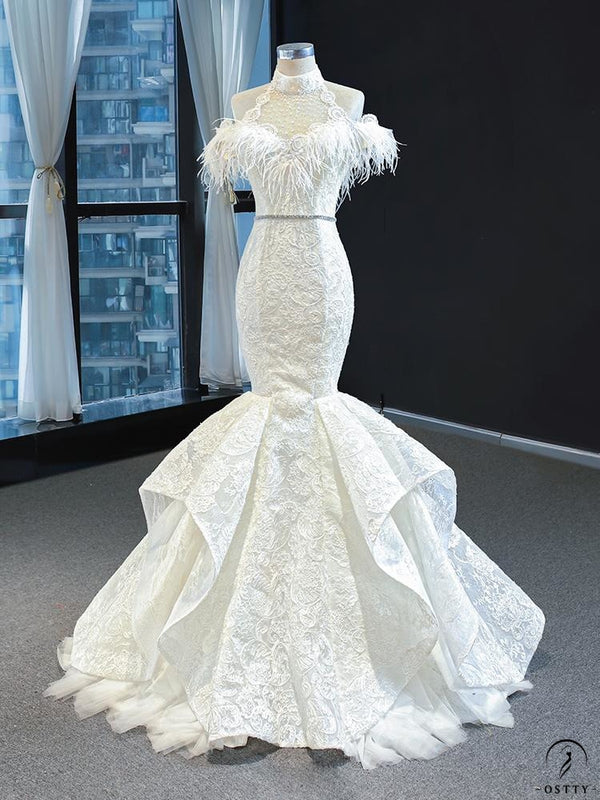 White Mermaid Wedding Dress Appliques Scoop Neck 67032 - $599.99