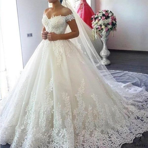 White Off the Shoulder Wedding Dress - $399.99