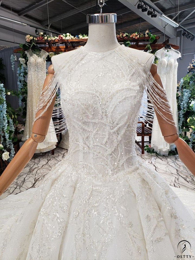 White One Shoulder Wedding Gowns with Train - OSTTY