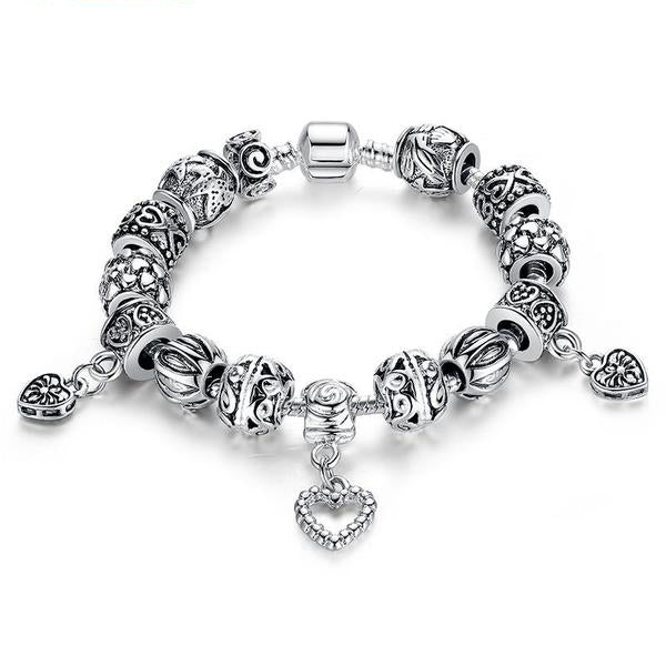 Armbandje Antique Silver With Heart