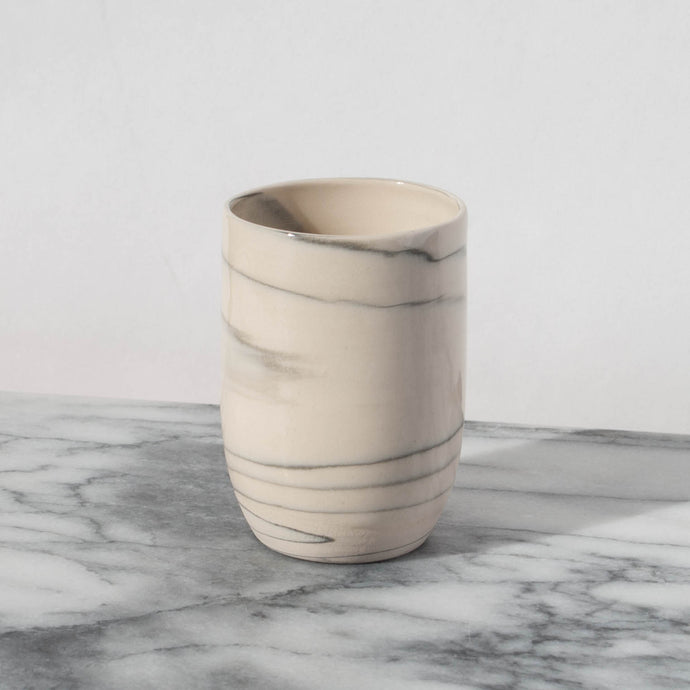 Tapered Agate White Cup