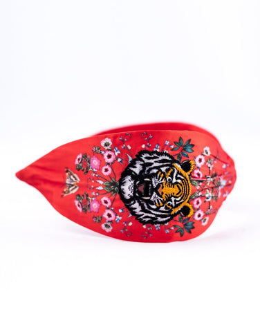 Embroidered Tiger Headband