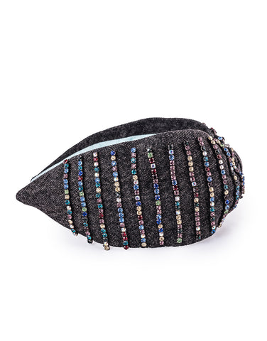 Multi Jeweled Denim Headband
