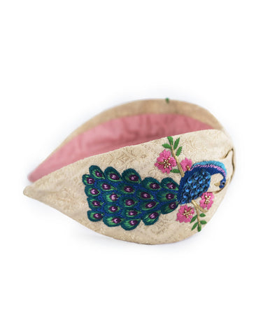 Embroidered Peacock Headband
