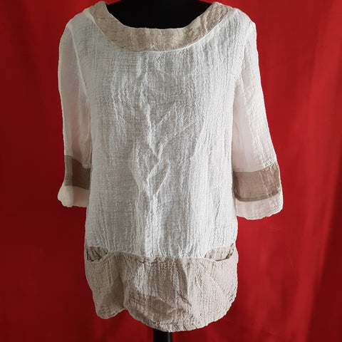 STELLA MODA Women's Cream Linen 3/4 Sleeve Top Size M