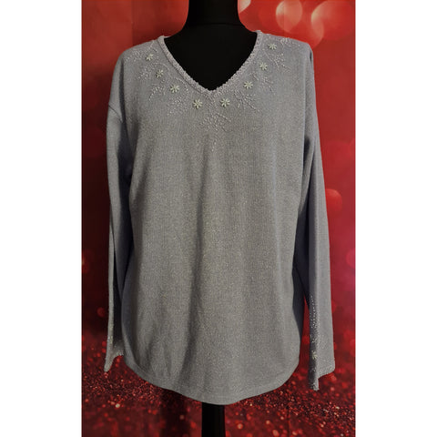 Bonmarche womens sparkle grey jumper size XL