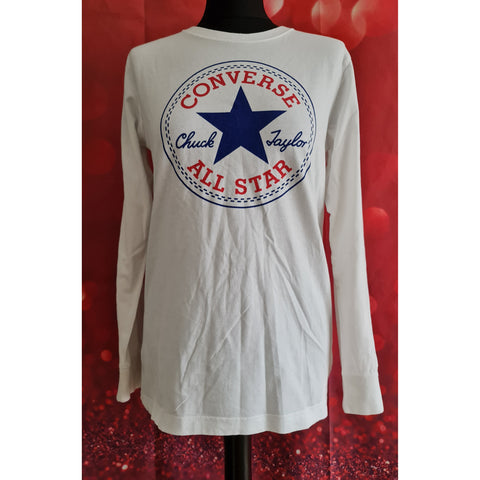 Converse All Star boys white long sleeve top size 13-15 years
