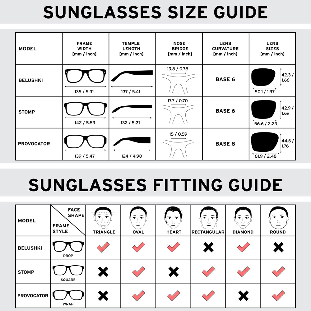 sunglasses size guide