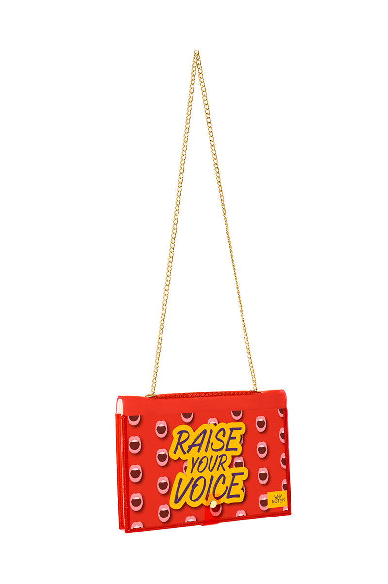 FUN NOTE-BAG NEON RED WOMEN POWER