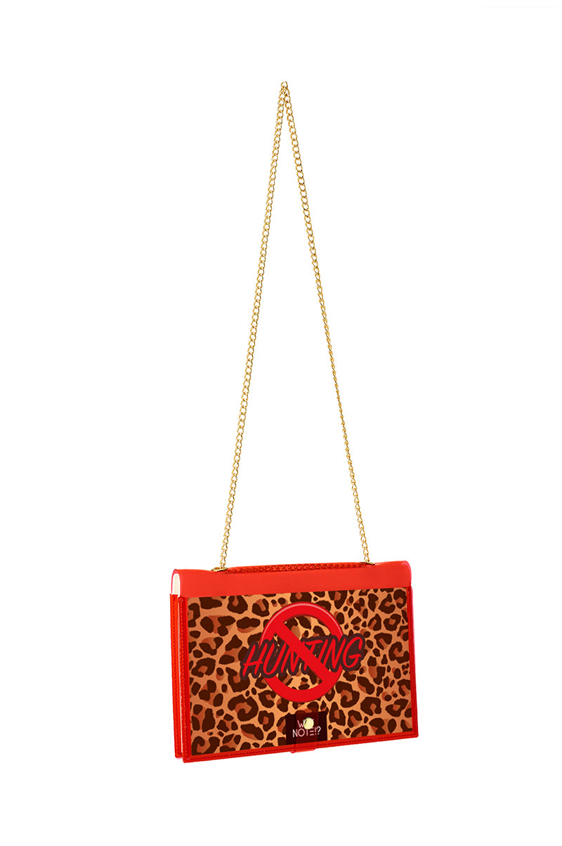 FUN NOTE-BAG NEON RED ANIMAL PRINT