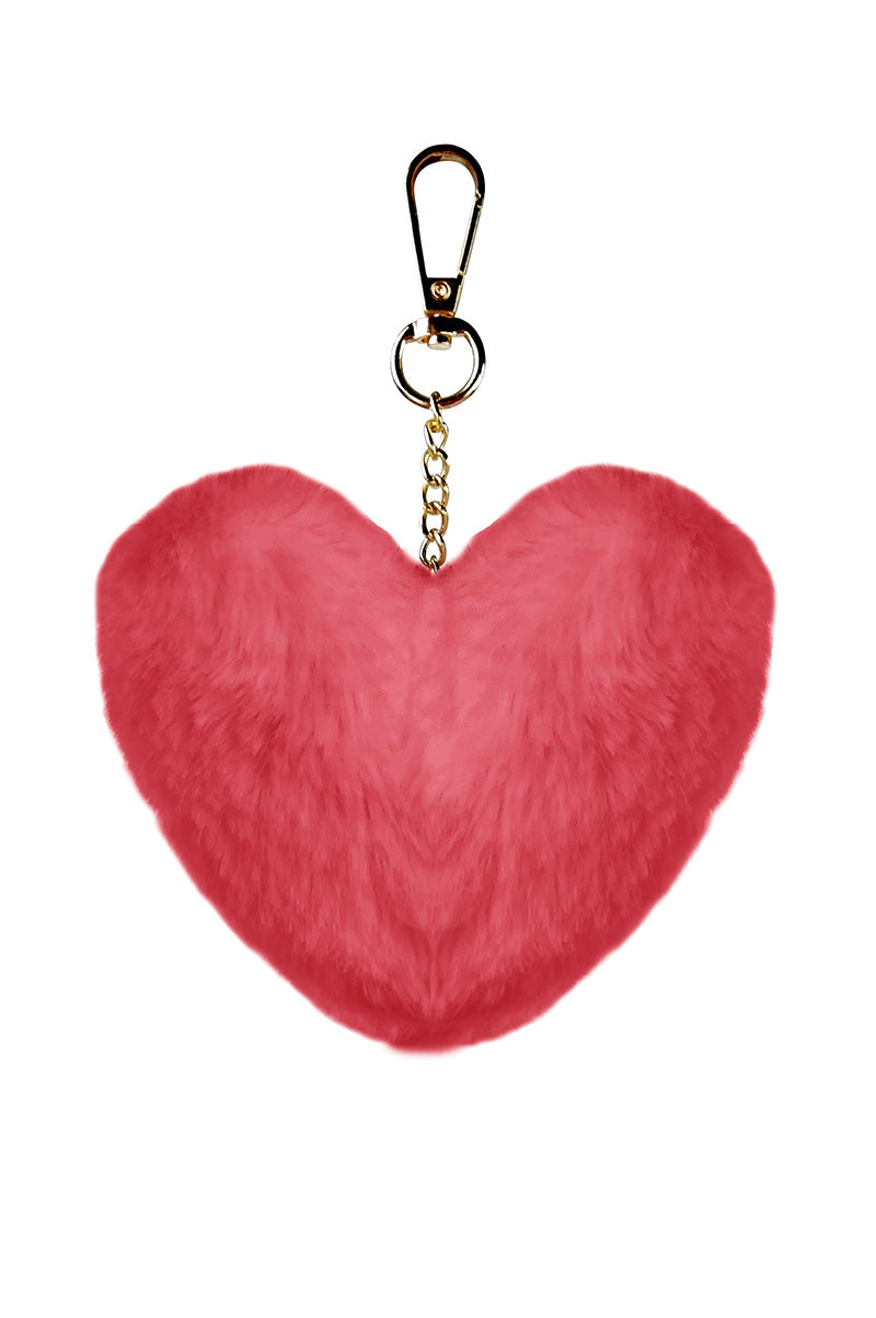 Red Faux Fur Heart Keychain