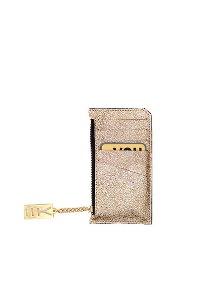 WHY NOTE!? GOLD GLITTER MIRROR MINI WALLET