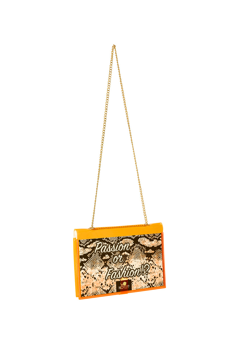 FUN NOTE-BAG NEON ORANGE ANIMAL PRINT