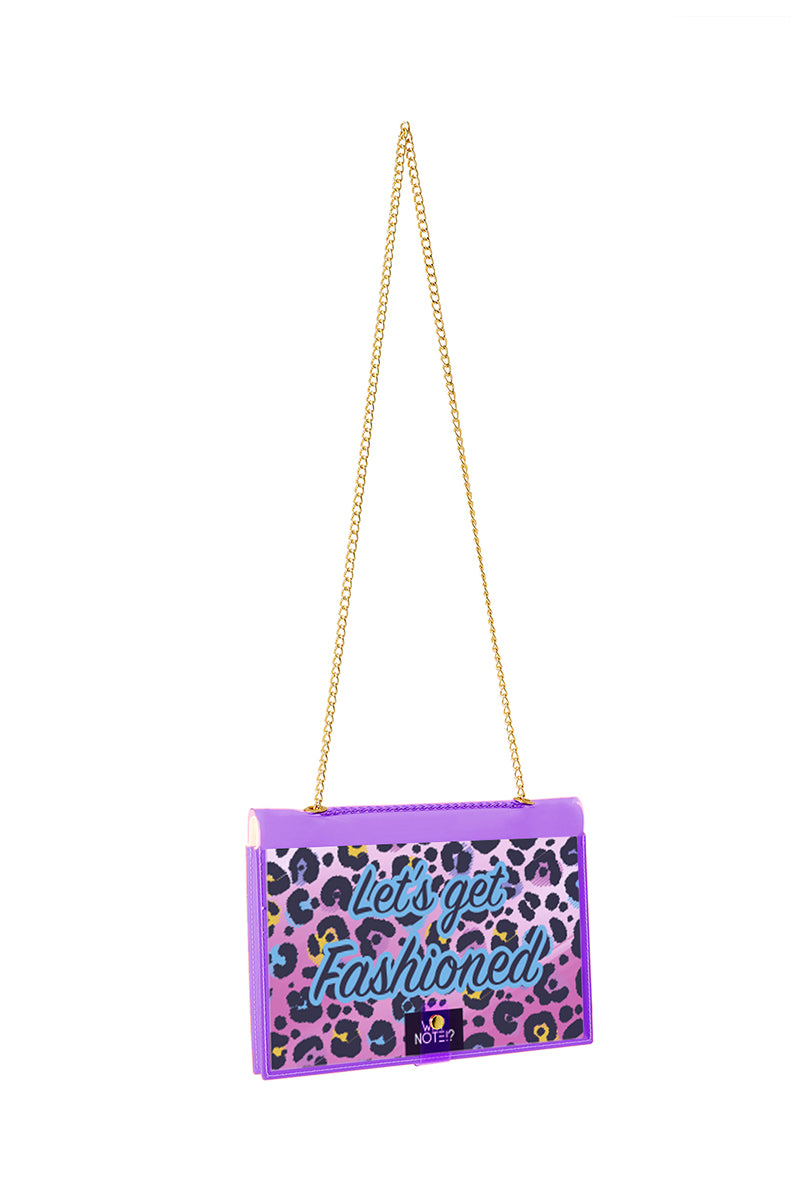 FUN NOTE-BAG NEON PURPLE ANIMAL PRINT