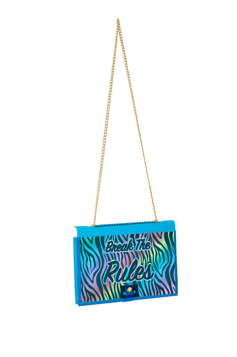 FUN NOTE-BAG NEON BLUE ANIMAL PRINT