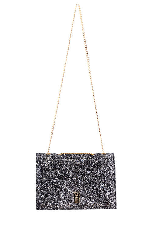 FANCY NOTE-BAG SILVER GLITTER