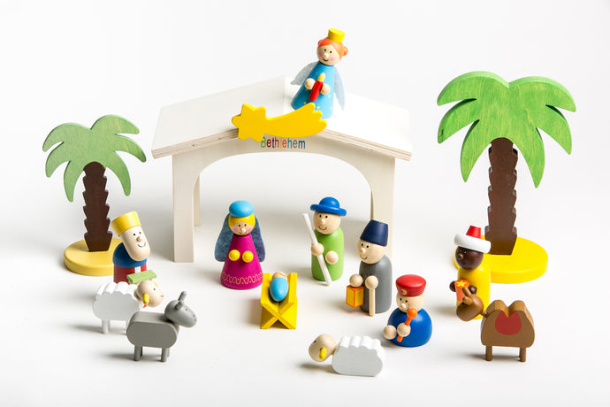 kids nativity play set