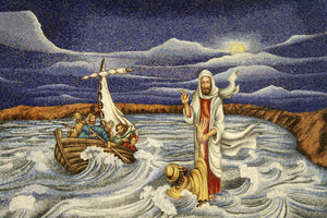 Walking on Water Chapel -Replica on canvas of Mosaic Chapel Mural (27 x 20 inch, DELIVERY INCLUDED)