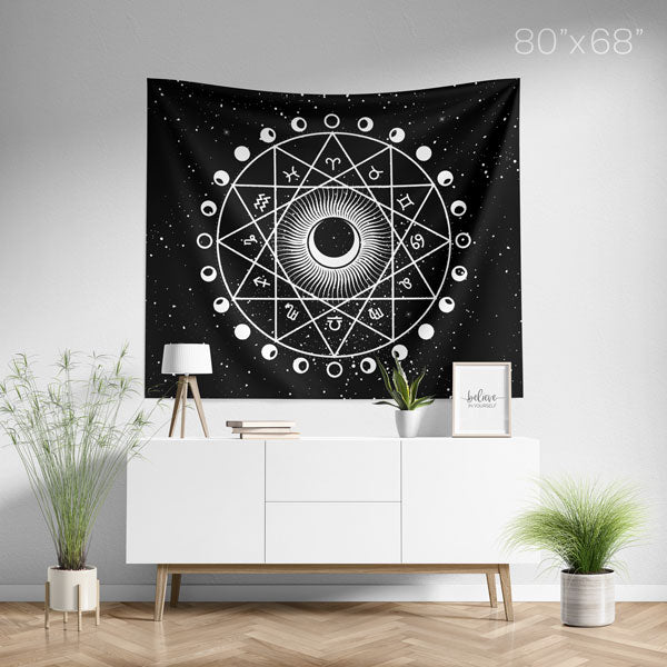 Zodiac Astrology Horoscope 12 Constellations Mandala Wall Tapestry Large