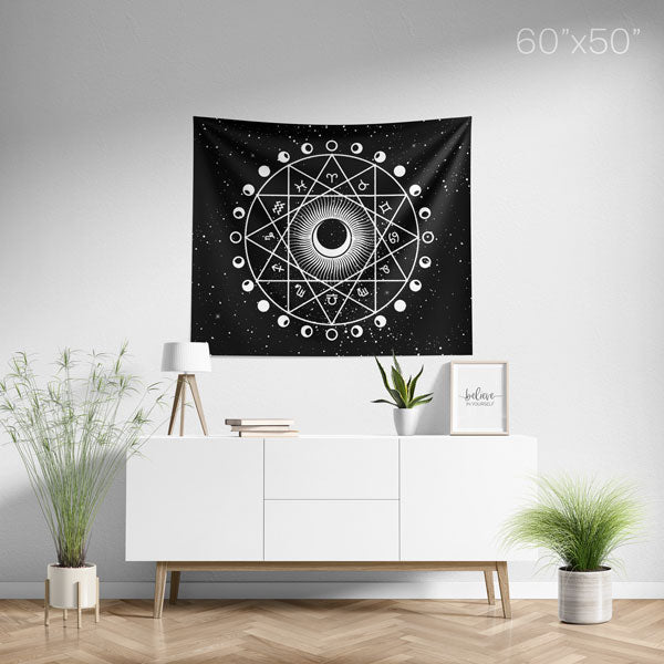 Zodiac Astrology Horoscope 12 Constellations Mandala Wall Tapestry Medium