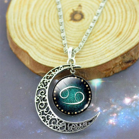 Crescent Moon Zodiac Sign Necklace