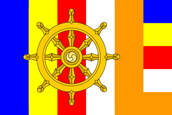 Five colors Buddhist flag representation