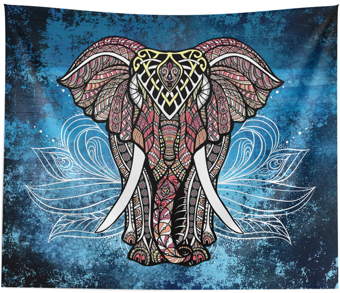 White Lotus Elephant Tapestry Wall Hanging Home Decor