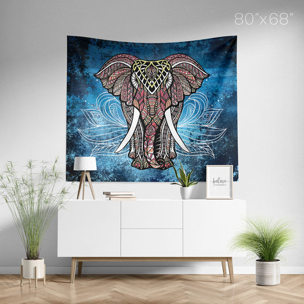 White Lotus Elephant Tapestry Large