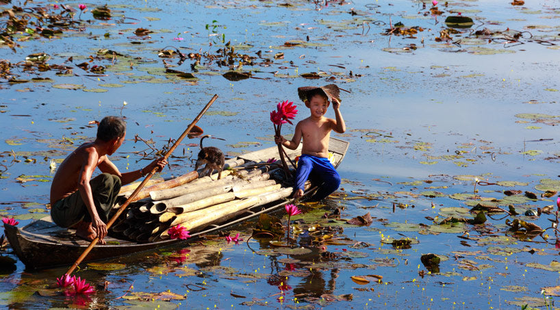 Boy holding Lotus Flower on the river