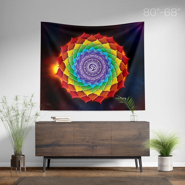 7 Chakras Mandala Wall Hanging Tapestry - Chakra Spiritual Home Decor - Size Large