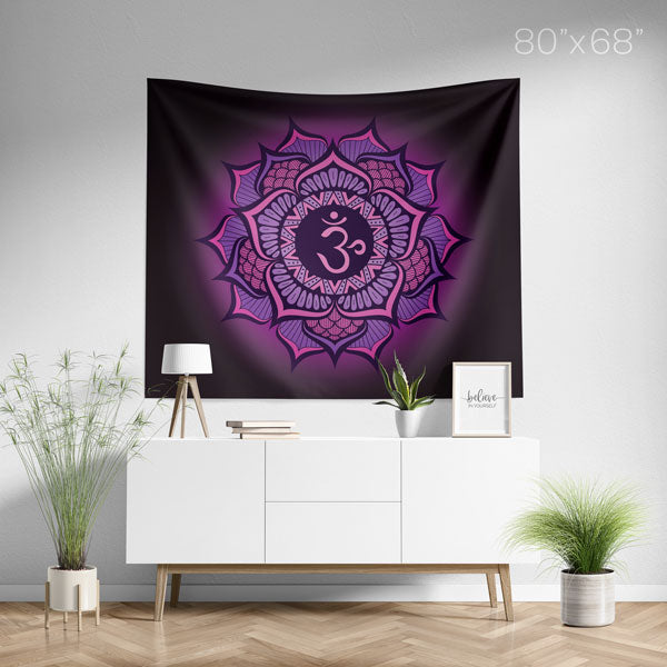 Crown Chakra Mandala Spiritual Wall Tapestry Home Decor - Large