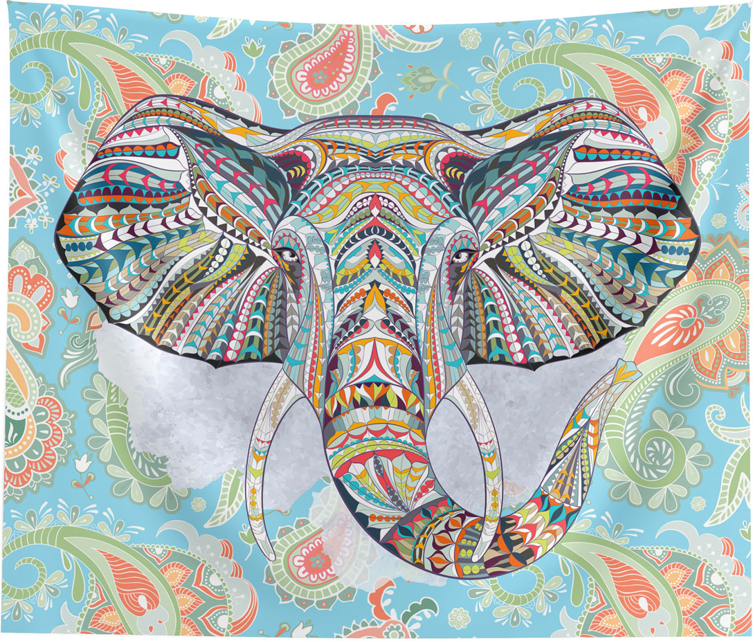 Ethnic Elephant Blue Wall Tapestry Home Decor Wall Hanging