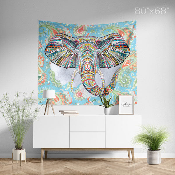 Ethnic Elephant Blue Wall Tapestry Home Decor Wall Hanging | Large