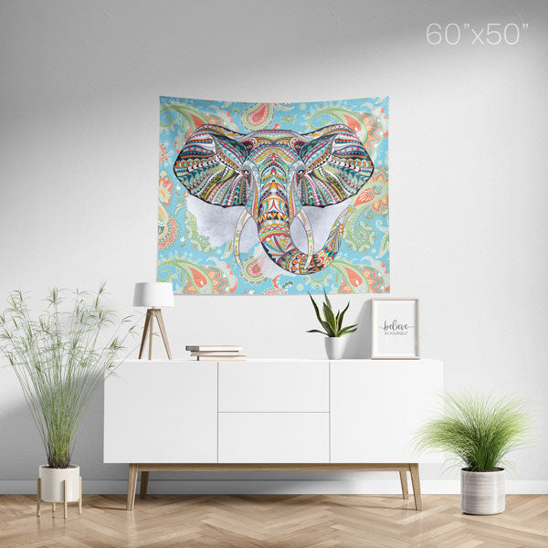 Ethnic Elephant Blue Wall Tapestry Home Decor Wall Hanging | Medium