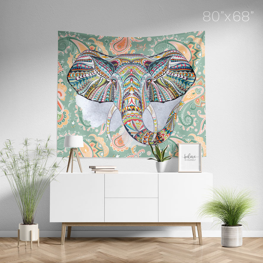 Ethnic Elephant Green Wall Tapestry Home Decor Wall Hanging | Large