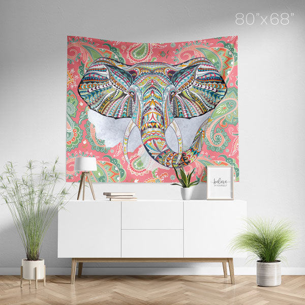 Ethnic Elephant Red Wall Tapestry Home Decor Wall Hanging | Large